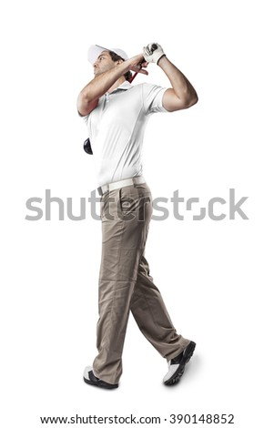 Golf Player in a white shirt taking a swing, on a white Background.