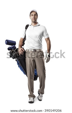 Golf Player in a white shirt walking with a bag of golf clubs on his back, on a white Background. - stock photo