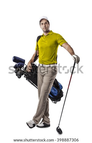 Golf Player in a yellow shirt, standing with a bag of golf clubs on his back, on a white Background. - stock photo