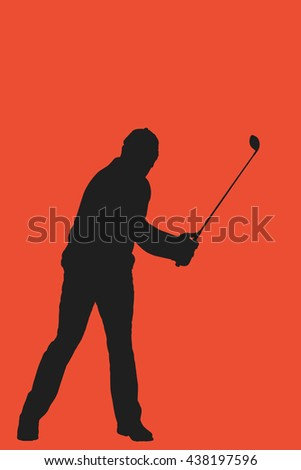 Golf player taking a shot against red background