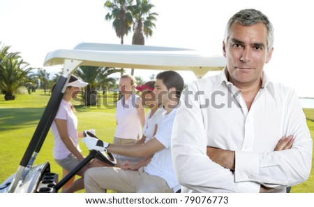 Golf senior golfer man portrait in green course outdoor young people cart background [Photo Illustration] - stock photo