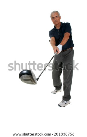Golf Sport.  Golfer hitting Tee-shot isolated on white with room for your text. the Perfect Golf Image for all your Golfing needs. - stock photo