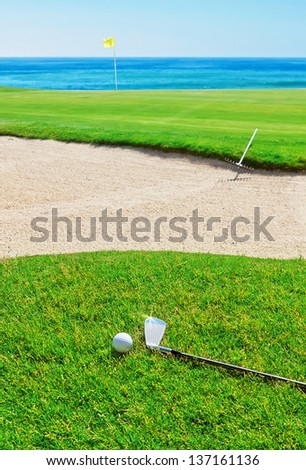 Golf stick on the grass field and ball on the background of the sea. - stock photo