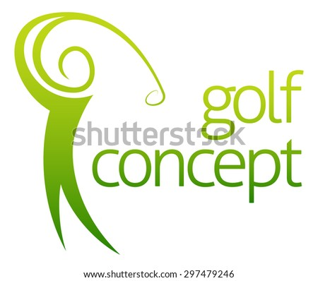 Golf swing abstract concept of a golfer figure playing golf - stock photo