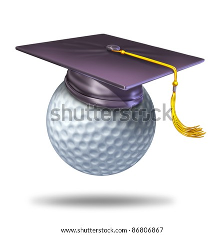 Golf training school by professionals for learning the skills of the sport with a mortar hat or graduation cap on a ball showing the certification of a student for the completion of the course. - stock photo