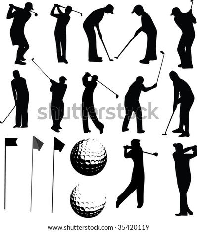 Golf vector set on white background - stock photo
