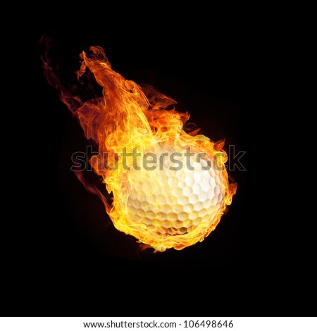 Golfball on Fire or Burning Golfball 3D on black - stock photo