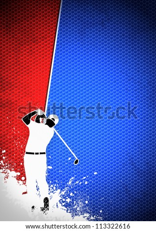 Golfclub poster: Man golf swing poster background with space - stock photo