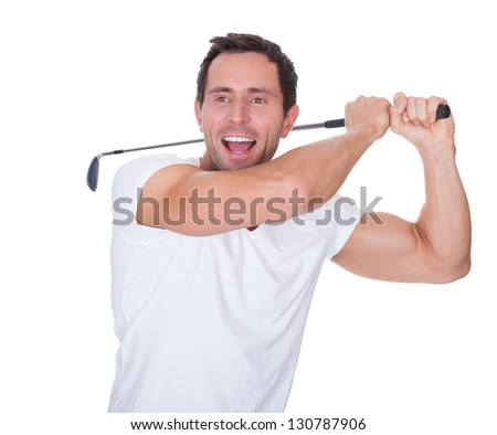 Golfer After Swing Isolated On A White Background - stock photo