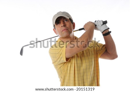 Golfer after swing on a studio setting isolated on a white background - stock photo