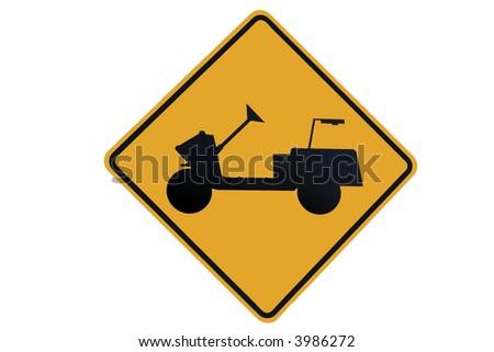 Golfer cart crossing sign - stock photo
