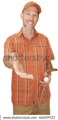 Golfer putting out his hand after the game to shake. - stock photo