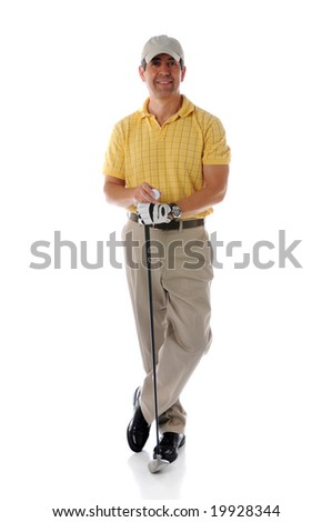 Golfer relaxing and posing isolated against a white background - stock photo