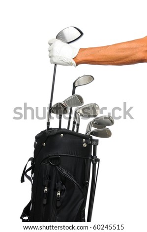 Golfer removing his driver from a black golf bag. Only Golfers arm and hand with glove are showing. Isolated over a white background. - stock photo