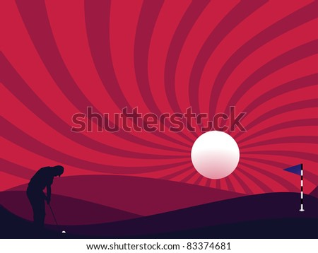 Golfer silhouette at night time with full moon - stock photo