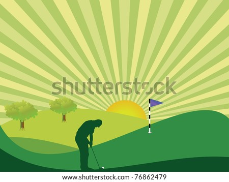 Golfer silhouette in green rolling countryside with bright sun and sunburst sky - stock photo