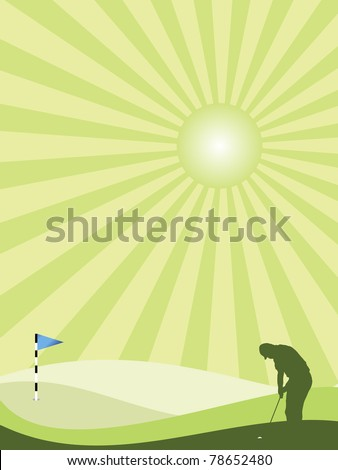 Golfer silhouette in green rolling countryside with sunburst sky - stock photo
