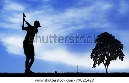 golfer silhouetted - stock photo
