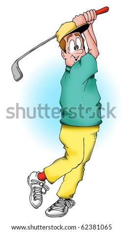 Golfer taking a big swing. - stock photo