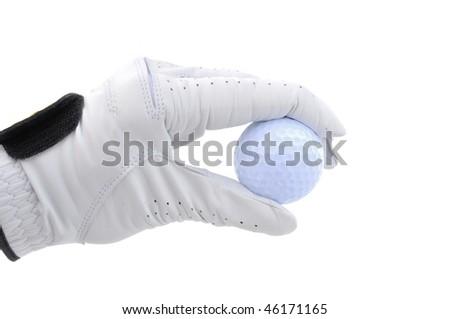 Golfer wearing Golf Glove Holding a Golf Ball - stock photo