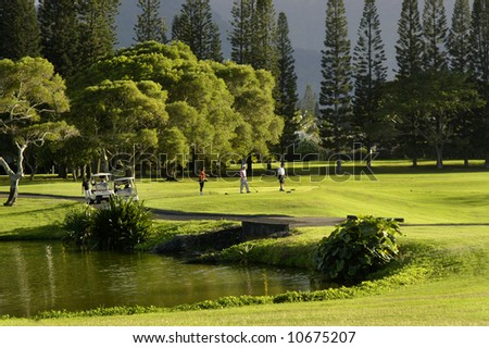 Golfers walk from golfcart onto course on Kauai, Hawaii.  Princeville Resort course.  Pool and trees with stormy clouds. - stock photo