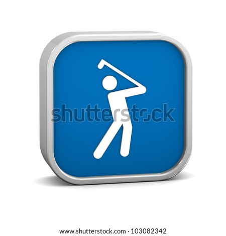 Golfing sign on a white background. Part of a series. - stock photo