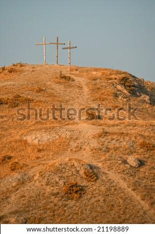 golgotha with three crosses - stock photo