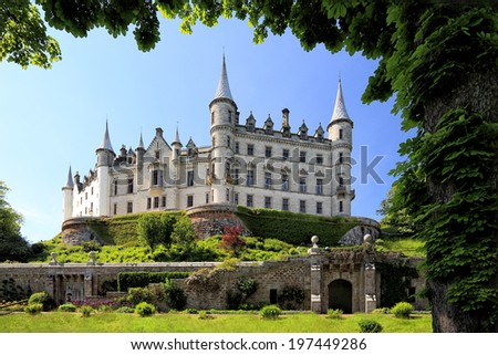 GOLSPIE, SCOTLAND - MAY 31: Dunrobin Castle and grounds on May 31, 2014 in Golspie, Scotland. Dunrobin Castle was built in 1835.