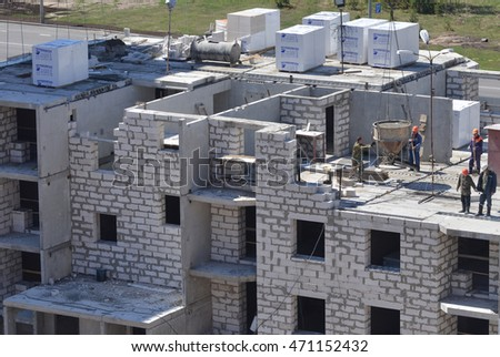 Gomel, Belarus - May 4, 2015: Construction of multi-storey residential building