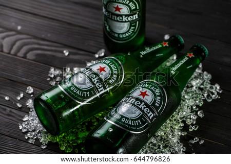 Gomel.Belarus - May 18.2017. Heineken Lager Beer (Dutch: Heineken), or simply Heineken, is a pale lager beer with 5% alcohol by volume produced by the Dutch brewing company Heineken International.