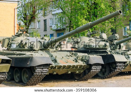 Gomel, Belarus - May 9, 2015: The old russian Soviet tanks T-80 and T-72