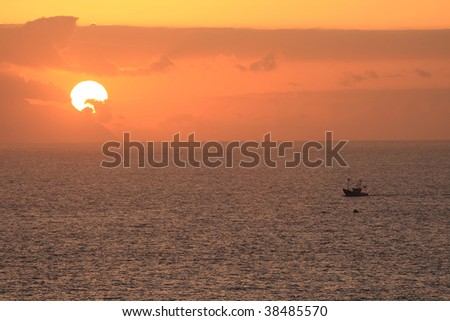 Gomera sunset - stock photo
