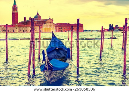 Gondola at sunset near the Piazza San Marco, Venice, Italy. Colorized like instagram filter - stock photo