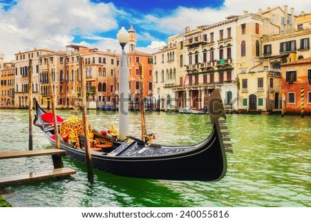 Gondola at The Grand Canal, Venice - stock photo
