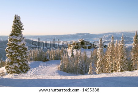 Gondola building at winter, Steamboat ski resort, Colorado, United States - stock photo