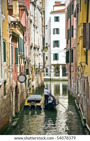 Gondola canal Venice scene - stock photo