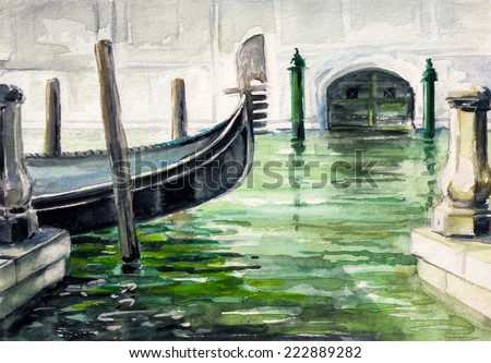 Gondola in canal in Venice watercolor painted. - stock photo