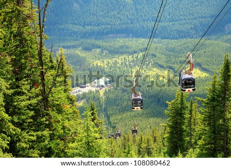 Gondola in the Rocky Mountains (Banff. Alberta. Canada) - stock photo