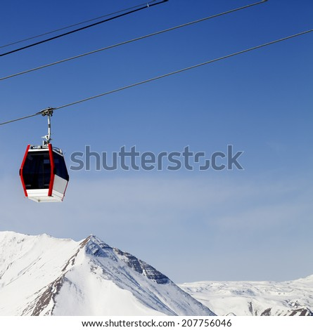 Gondola lift and snowy mountains. Ski resort Gudauri, Georgia. Caucasus Mountains.