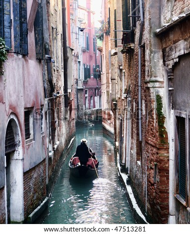Gondola on a Venice side canal, Italy