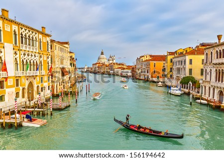 Gondola on Grand Canal in Venice, Italy - stock photo