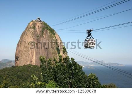 Gondola on the way of transport destination. Rio de Janeiro. Brazil - stock photo