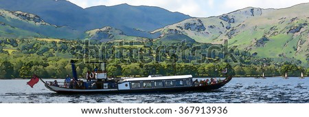 Gondola steam boat on a lake on a summer day will hills and mountains in the background illustration like oil painting