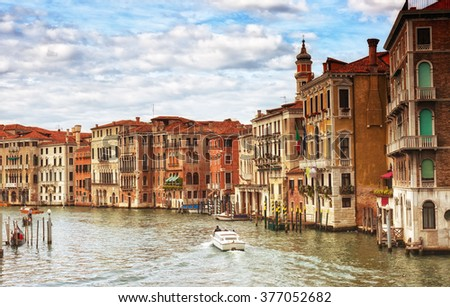 Gondolas and boats in the Grand Canal, Venice - stock photo