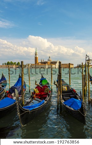Gondolas at rest by Piazza San Marco in Venic - stock photo