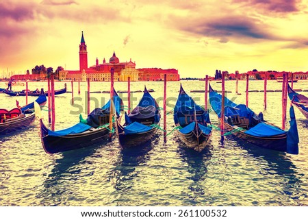 Gondolas at sunset near the Piazza San Marco, Venice, Italy. Colorized like instagram filter - stock photo