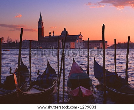 Gondolas by Saint Georgio at sunset