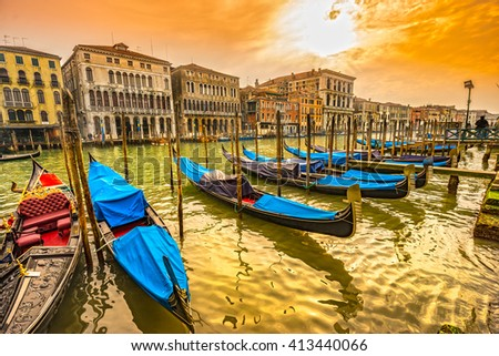Gondolas in Canal Grande - Venice, Italy  - stock photo