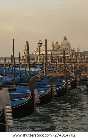 Gondolas in San Marco Square, Venice - stock photo