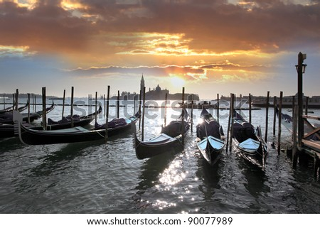 Gondolas in the evening, Venice, Italy - stock photo
